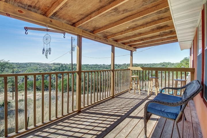 NEW LISTING! Charming rural escape w/ shaded porch & wonderful Hill Country view