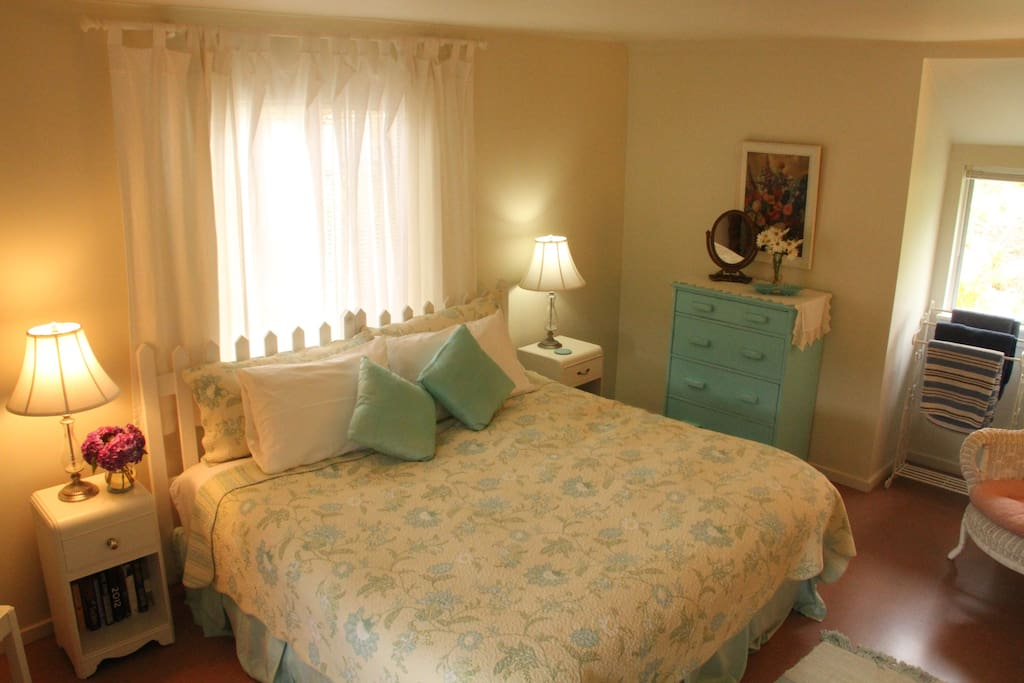 """King Bed with 4"""" Featherbed Topper in the Master Bedroom"""