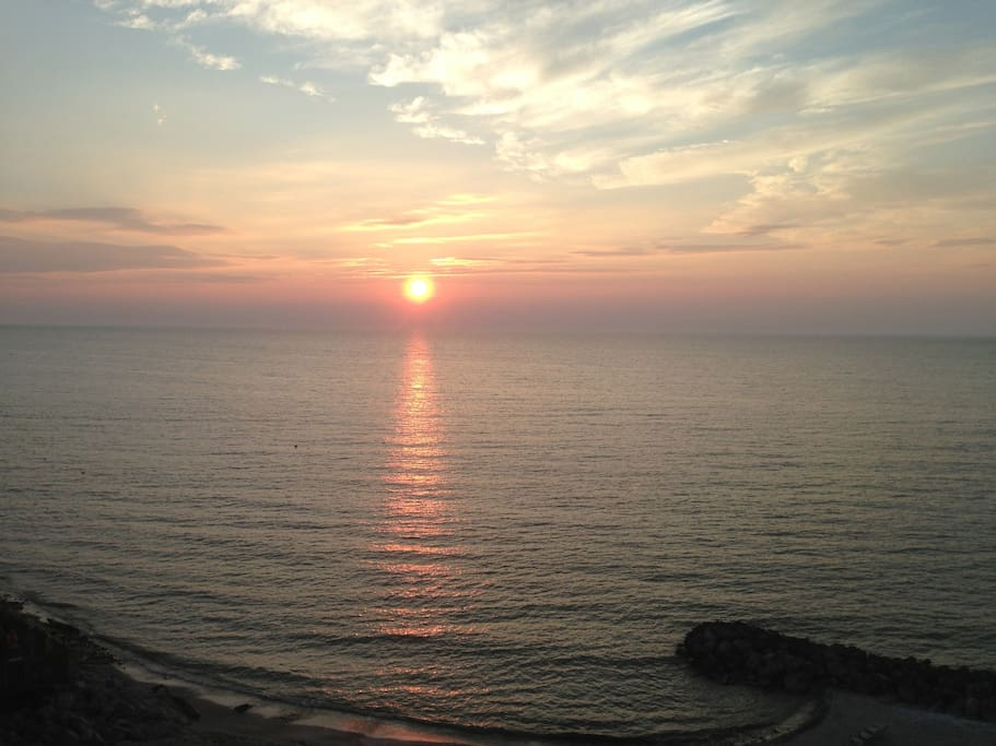 View of a sunset from our private balcony