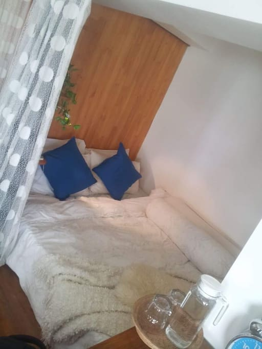 Double bed in a nook with good air-condition