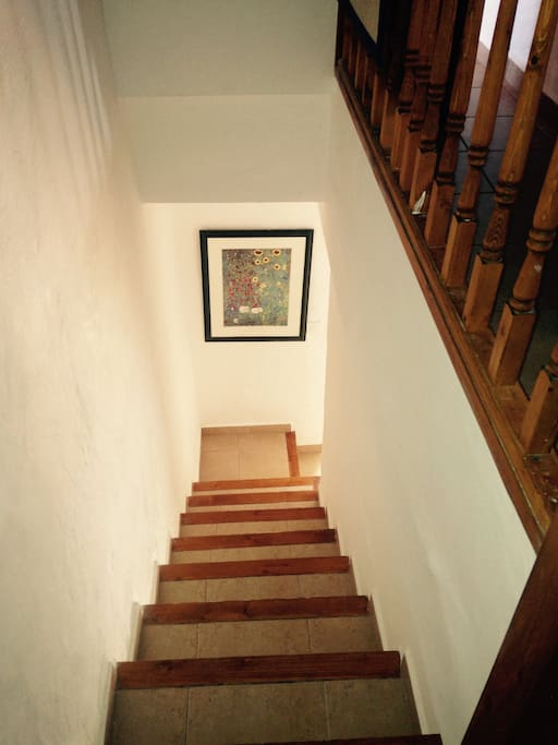 Looking down from the two upstairs bedrooms and small loo