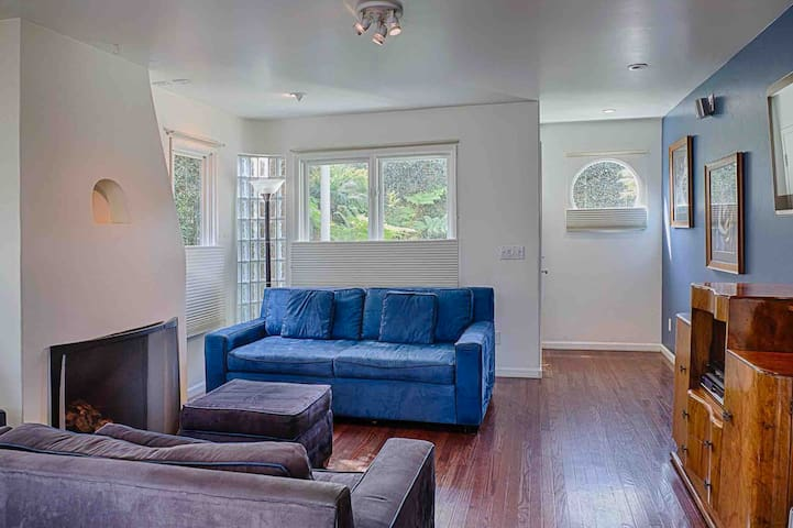 """Living room is comfortable and spacious, with wall-mounted 46"""" Samsung TV (not pictured here), DVD selection and player, sound system, 2 comfy couches (one of which folds out into a bed), several lighting options with dimmer, and gas fireplace."""
