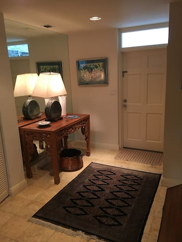 Front door and entry way