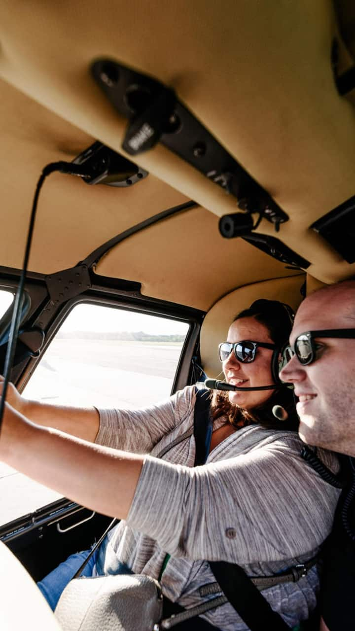 Selfie inside the helicopter