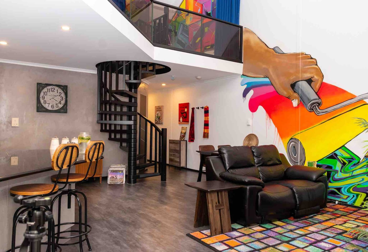 We love our open planned loft apartment with colourful streetart to brighten your day