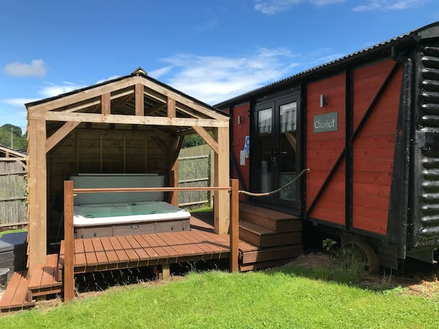 Luxury Railway carriage with own private hot tub