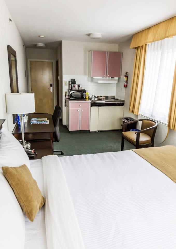 Enjoy our comfortable, affordable kitchenette room