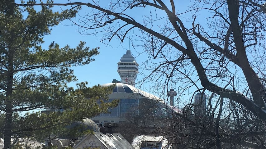 View from house : Casino Niagara, Fallsview Indoor Waterpark,Clifton hill, Skylon Tower