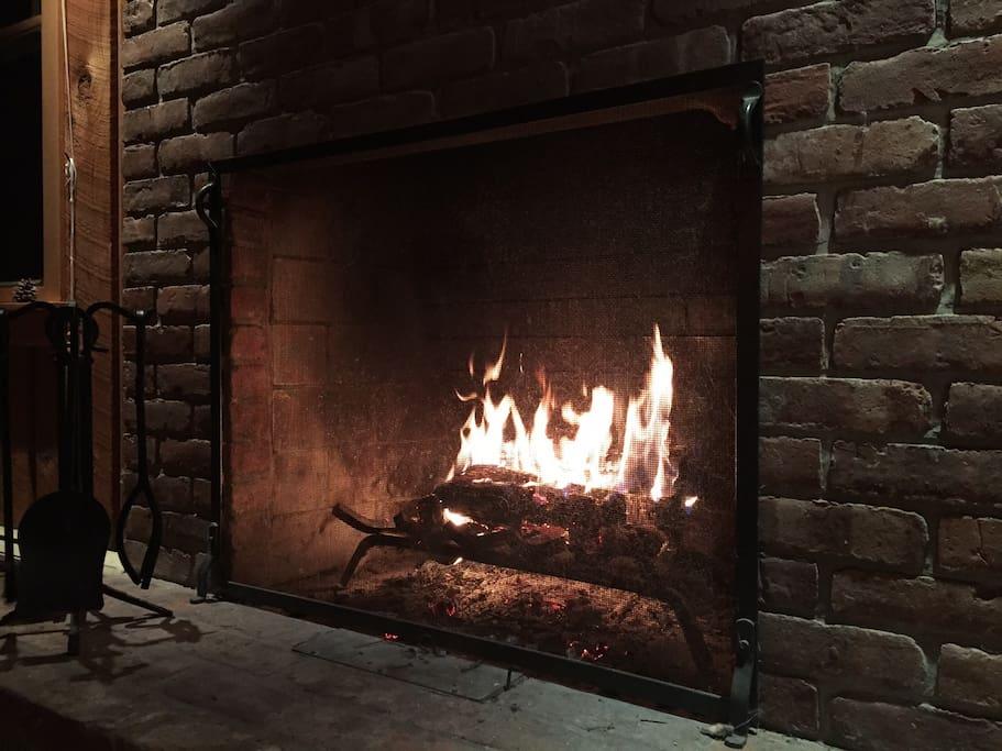 Wood burning fireplace!