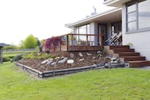 Sunny deck at front of house