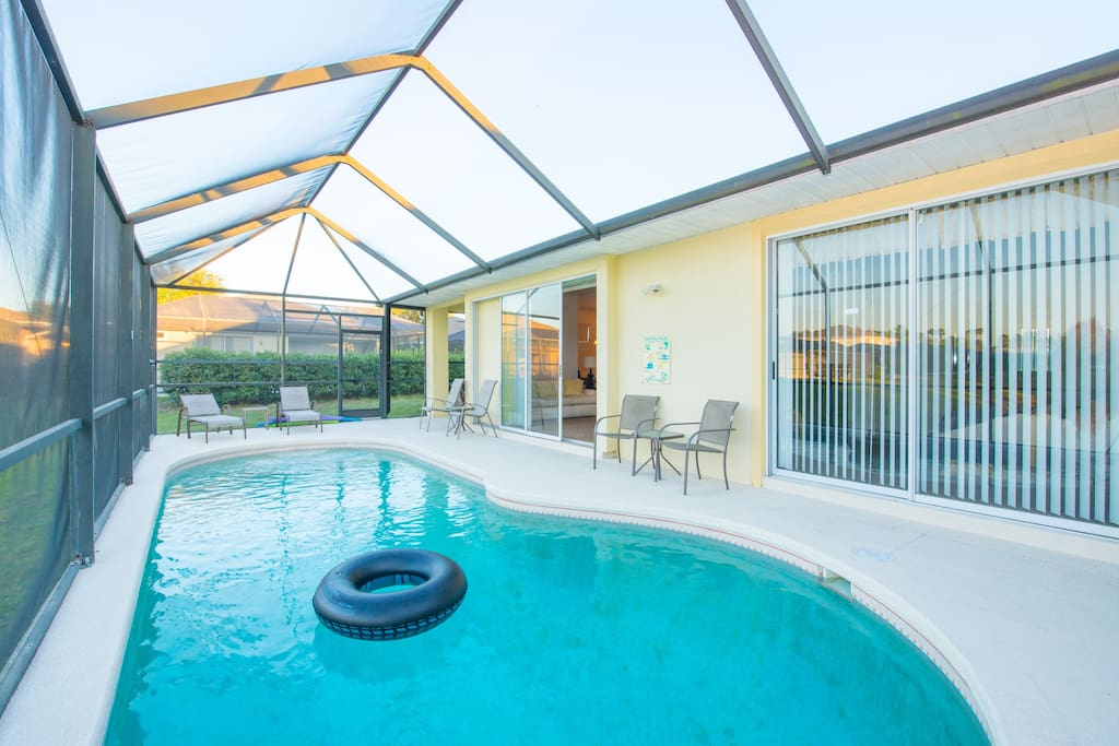 Completely screened-in pool area.