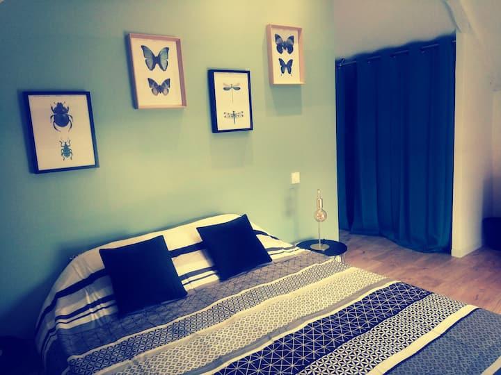 Chambre Cosy n°3, lit double, à 5 min de Rennes.
