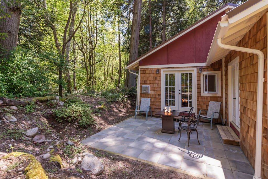 Your own private patio with a fire pit, overlooking the park