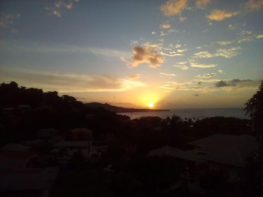Sunset over world famous Grand Anse Beach