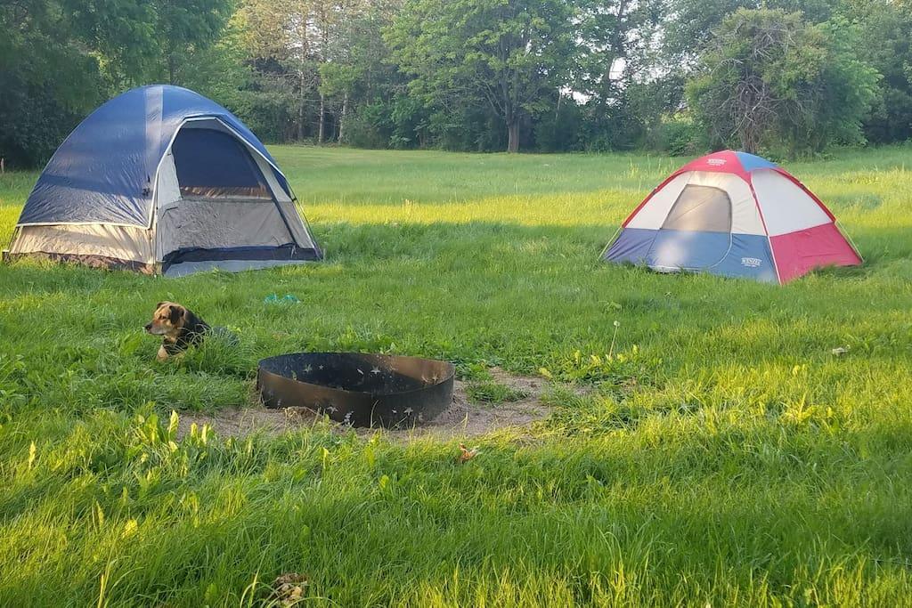 larger tent sleeps 2-4, smaller tent sleeps 1-2