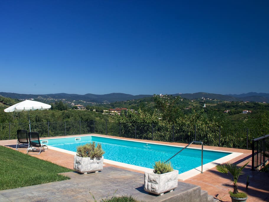 Swimming pool with bautiful view over Goriska Brda region