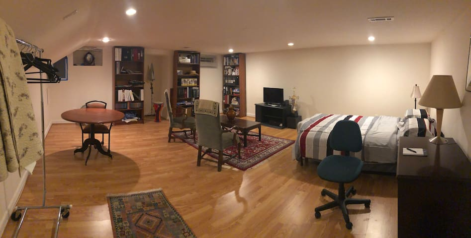 Common Area include a futon bed, spacious living room with a tv, desk.