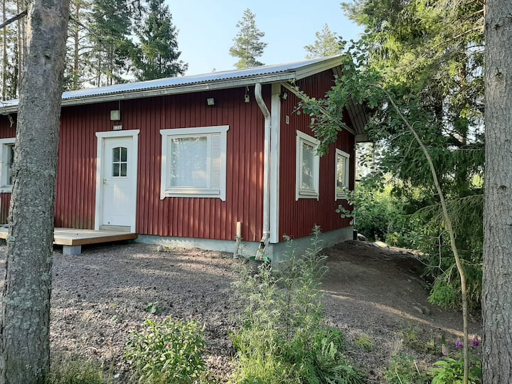 Kodikas pieni talo metsän reunassa.