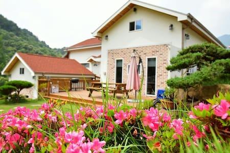 시원한 계곡과 천년 녹차밭 넓은잔듸가와 아름다운 정원 정갈한 침구 쾌적한 환경  탁월한선택