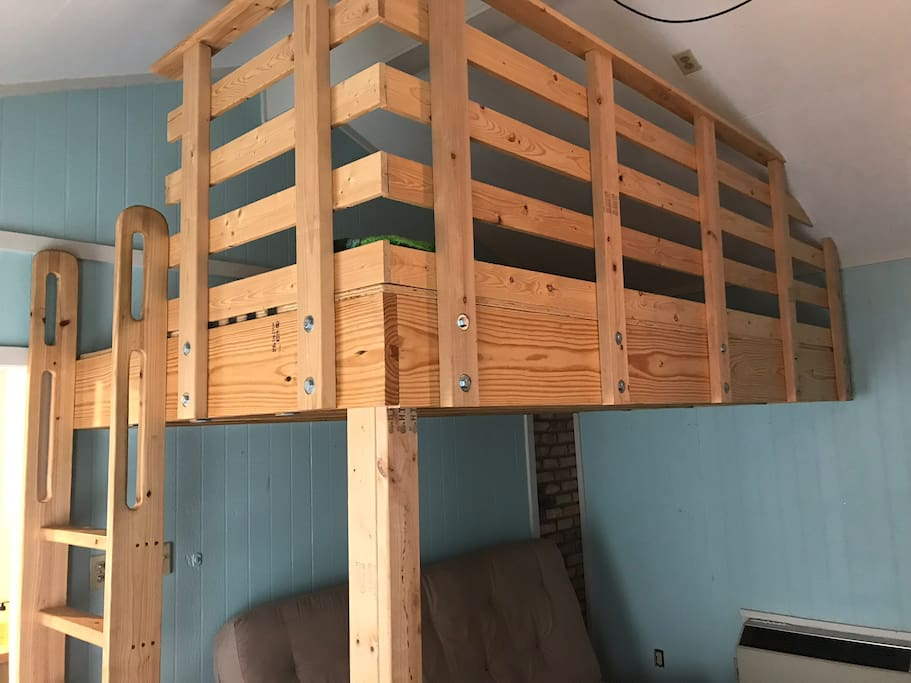 Built-in bunkbed fits a queen size mattress...perfect for kids!