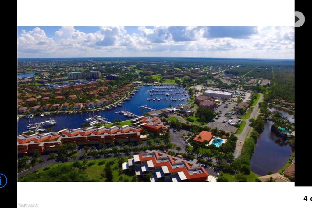 Aerial view of Burnt Store Marina.