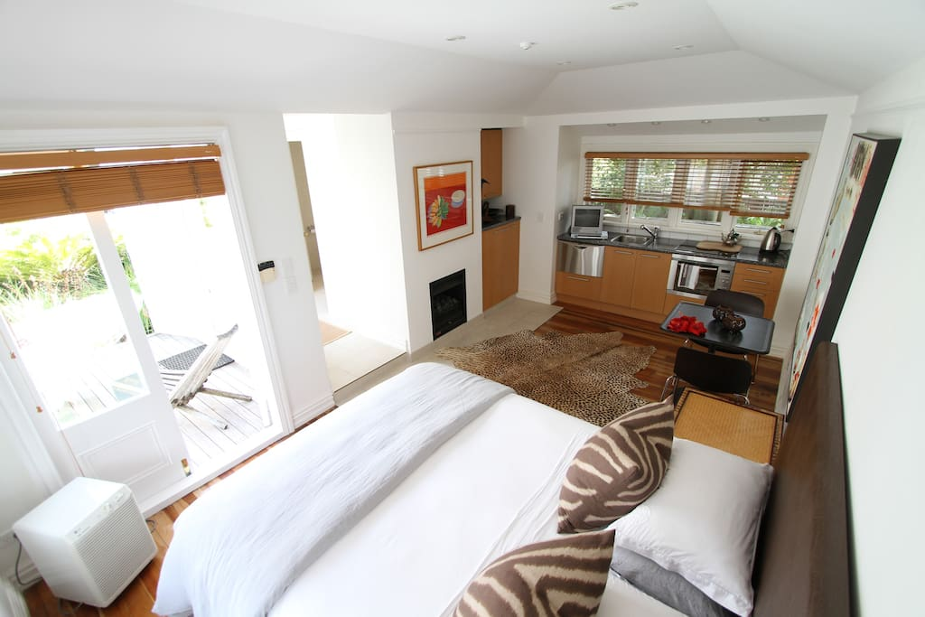 Comfortable king size bed, spacious living room and kitchenette