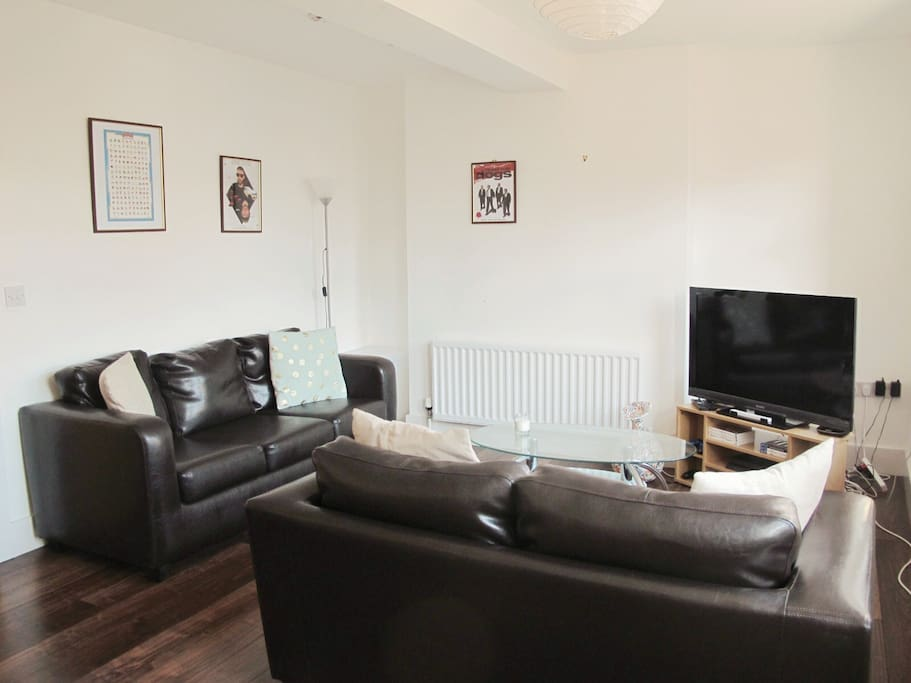 Cosy living area with 2 comfortable sofas and a TV