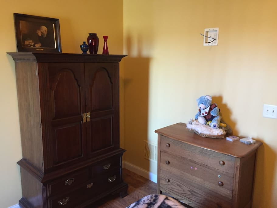 There is no closet, but the room has a generous armoire and dresser.