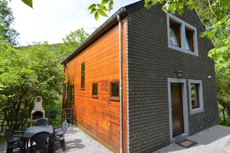 Comfortable modern chalet with wood finish.