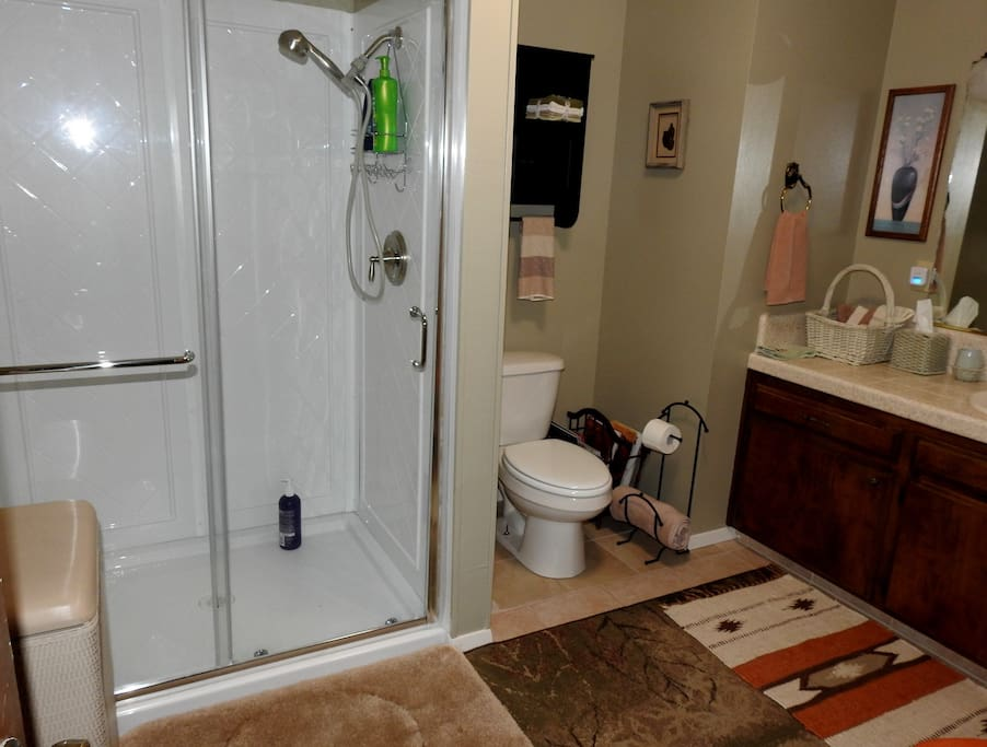Large attached bathroom with brand new shower