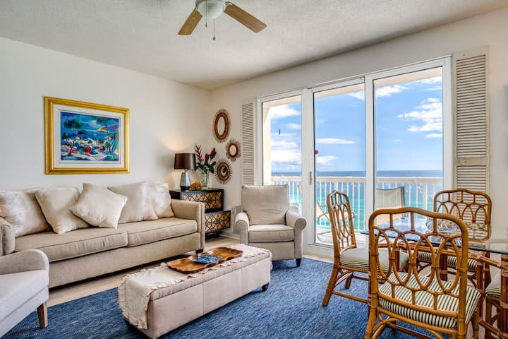 Deluxe, waterfront condo w/ a furnished balcony plus shared pool, hot tub, & gym