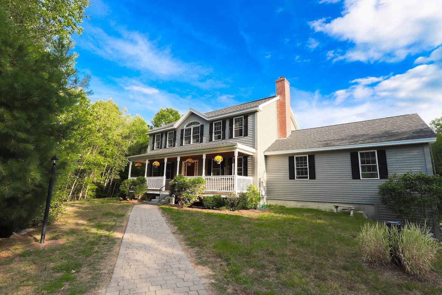 Front View of our Sunapee Four Season Getaway Home and Porch