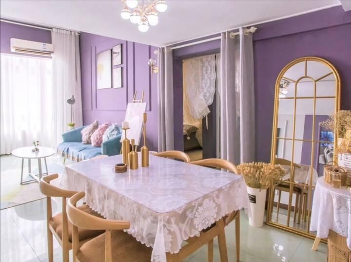 紫罗兰loft公寓 市中心电梯房 梦幻紫色 近桂林站 象鼻山 两江四湖