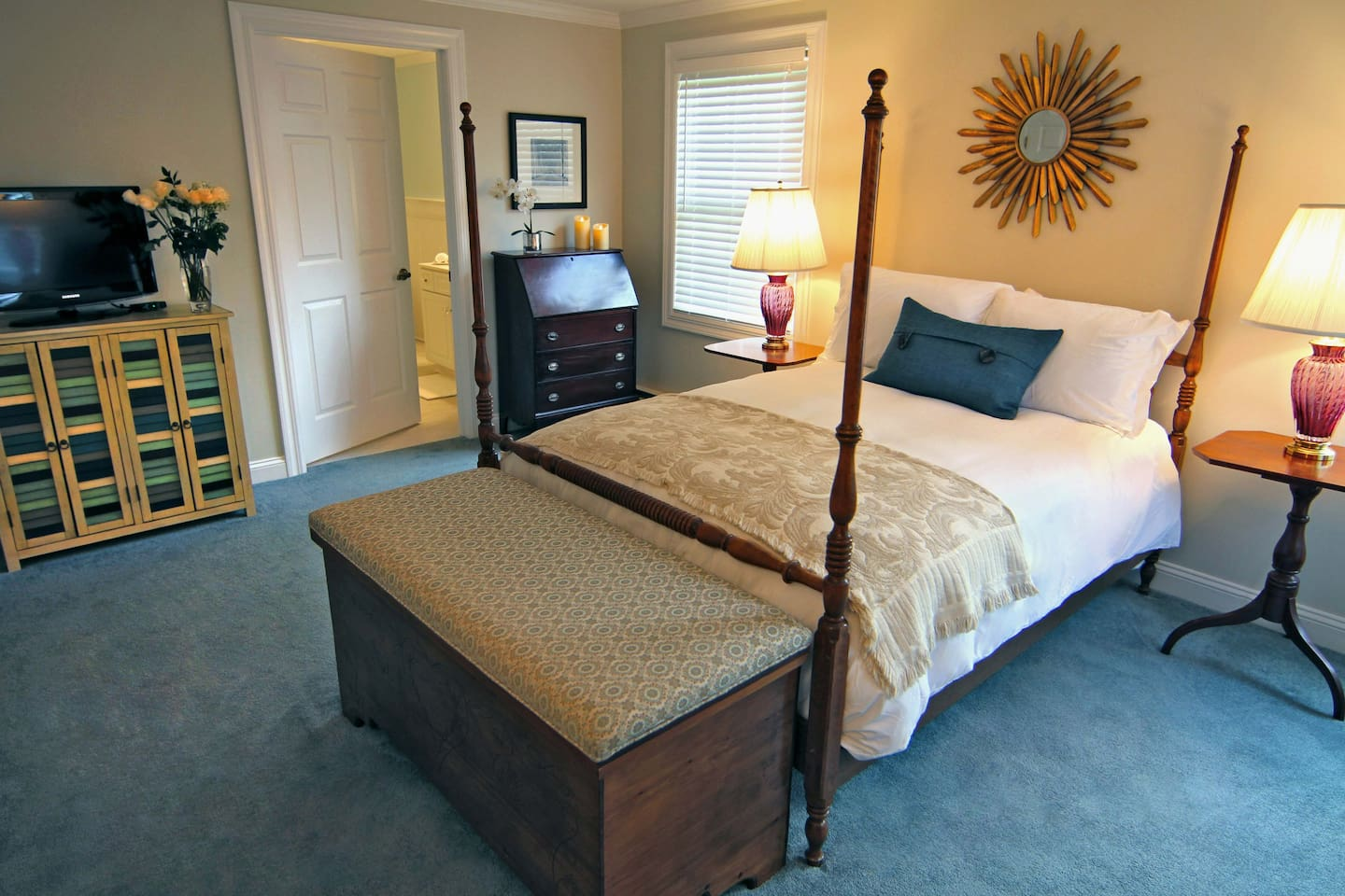 Room Five is located on our first floor, at the rear of the house. It is a private bedroom with a private bathroom and standup shower.  The room is spacious and has views of the backyard.