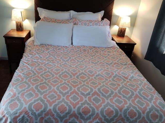 Cozy queen-sized bedroom