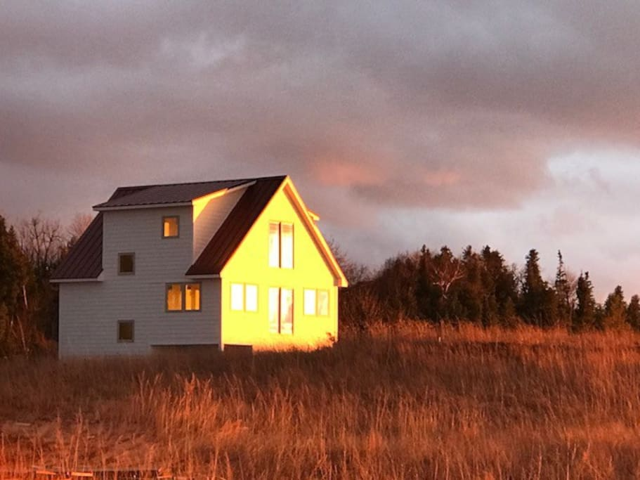 Maple Cottage aglow in November sunset