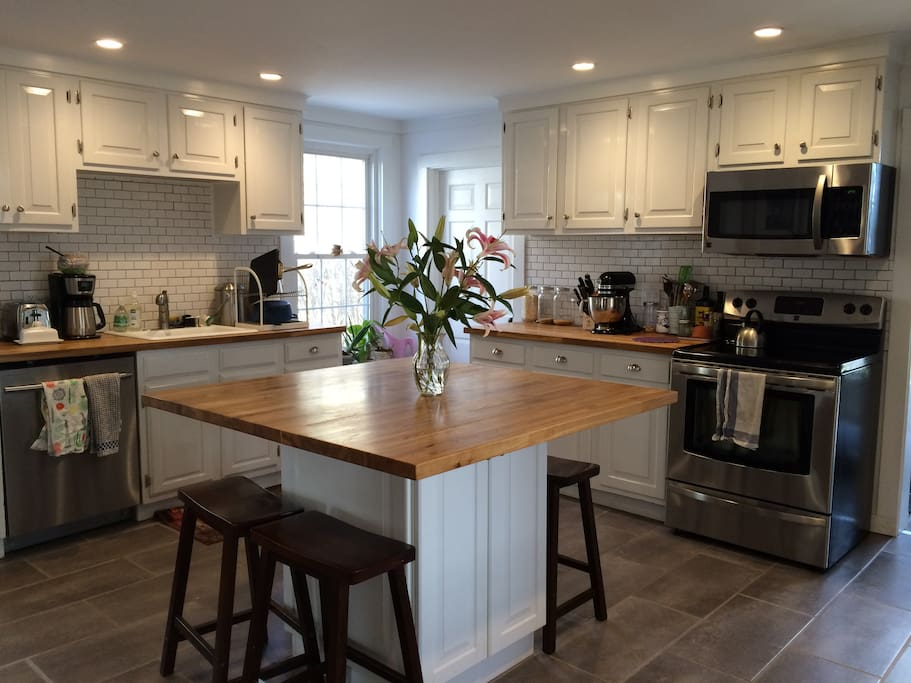 Spacious updated kitchen with center island.
