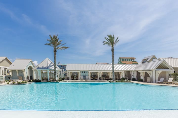 Enjoy access to the large, outdoor pool surrounded by lavish cabanas.