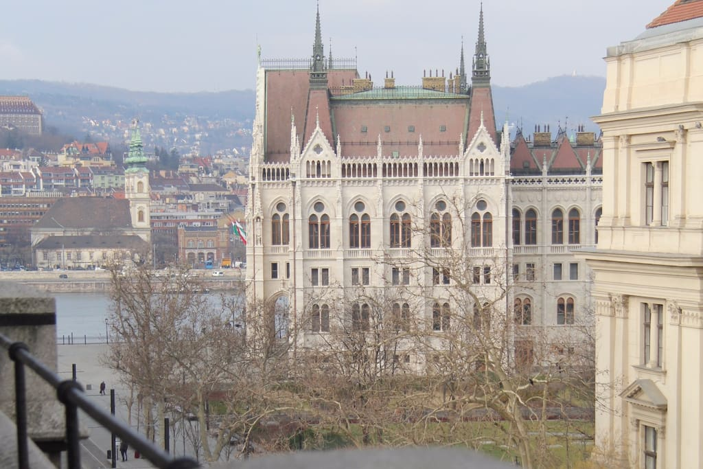 View from the balcony - Parliament and Danube