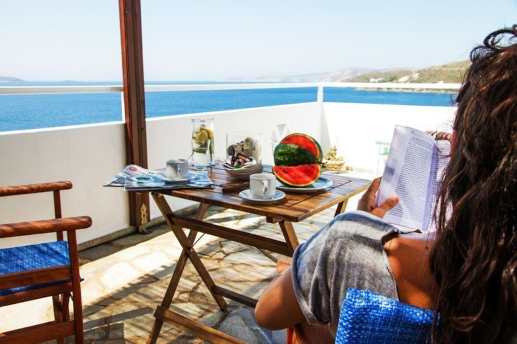 Breakfast with view of the Aegean sea