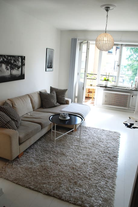 Living room, possible to have Queen size airmadrass or use sofa to sleep in