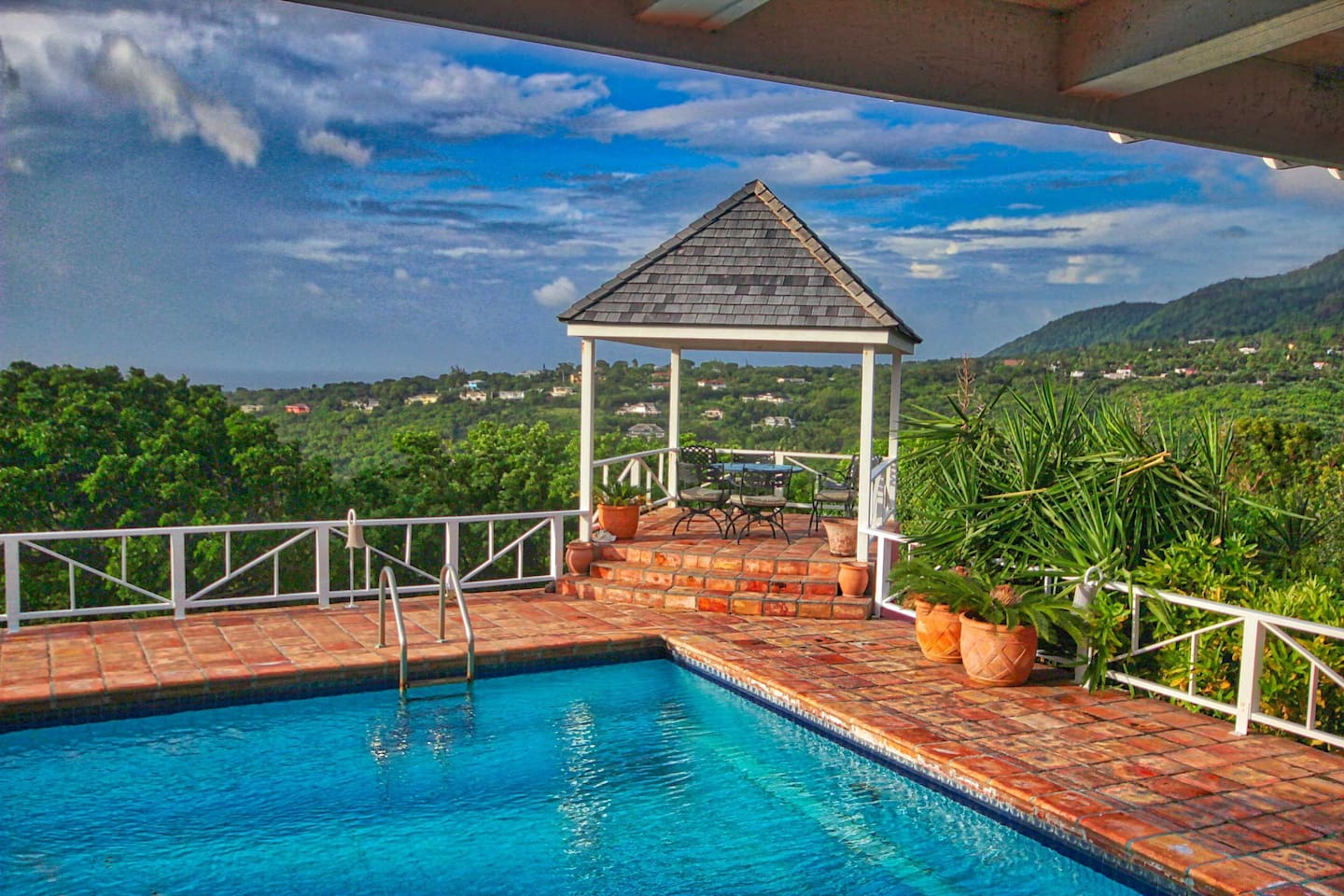 Amazing mountain views from gazebo, overlooking ocean to the other side.