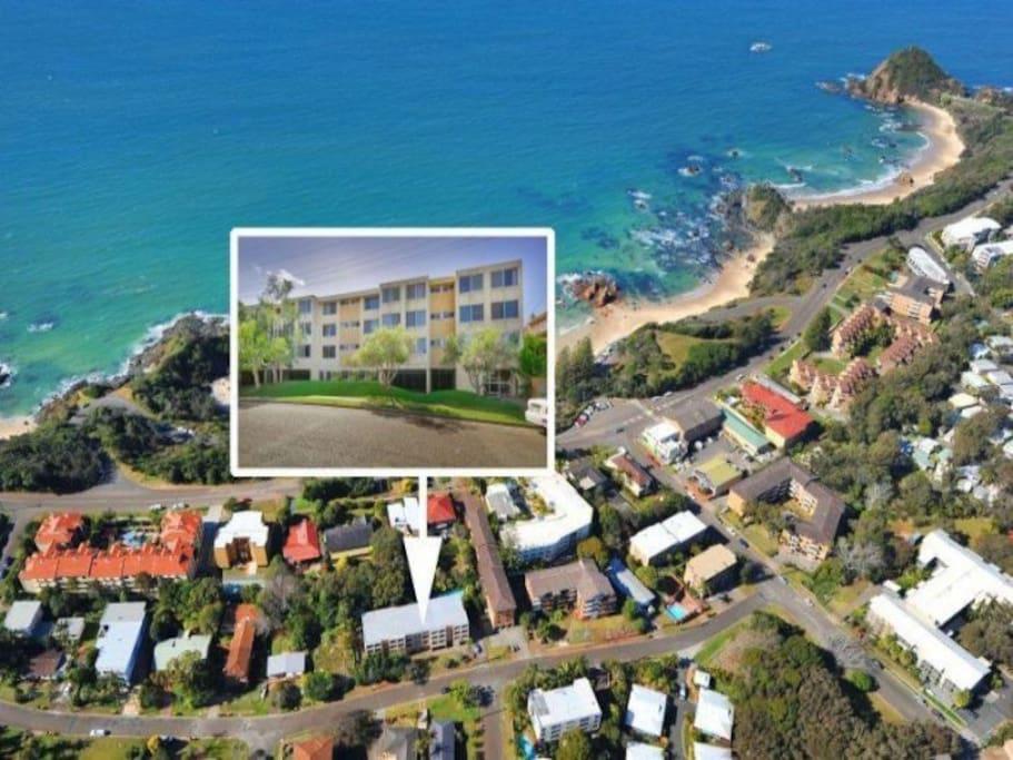 Aerial photo. So close to Flynns Beach