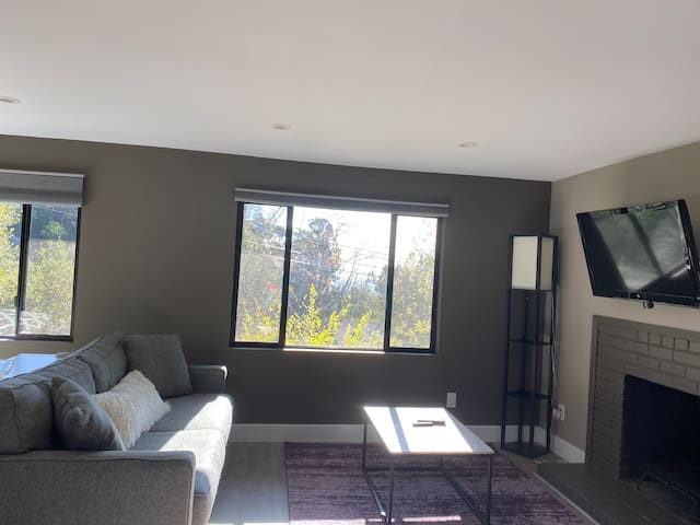 Comfortable living room with WiFi, smart TV, air conditioning, and Bay Area views