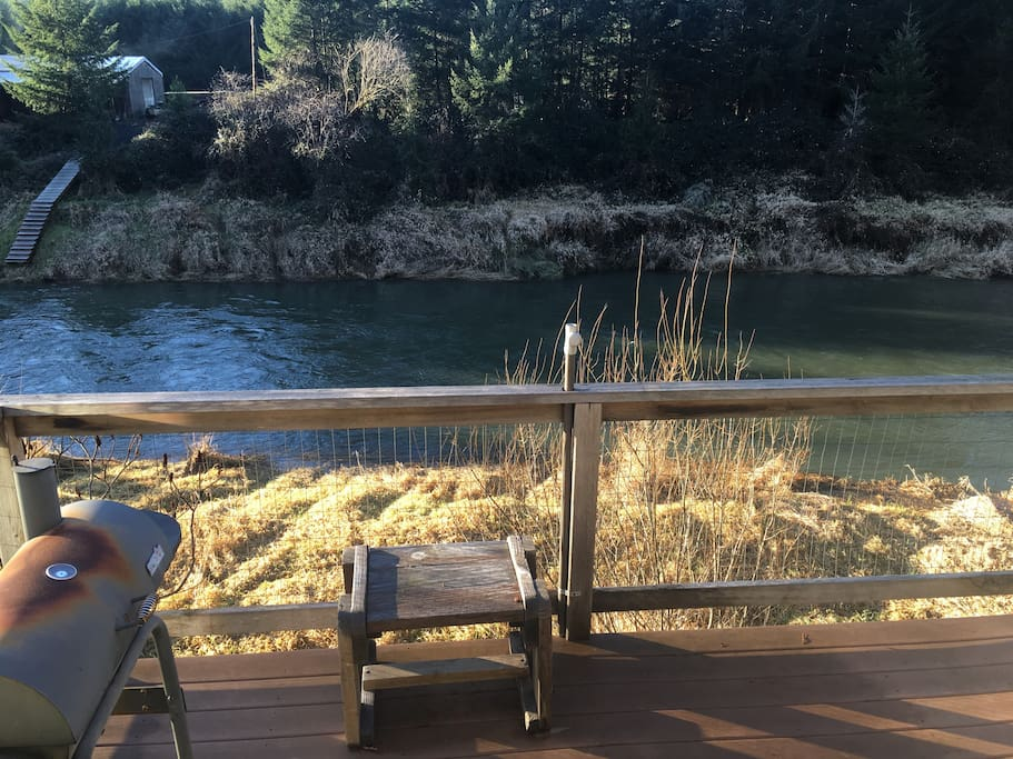 View off the deck looking out on the Alsea River.