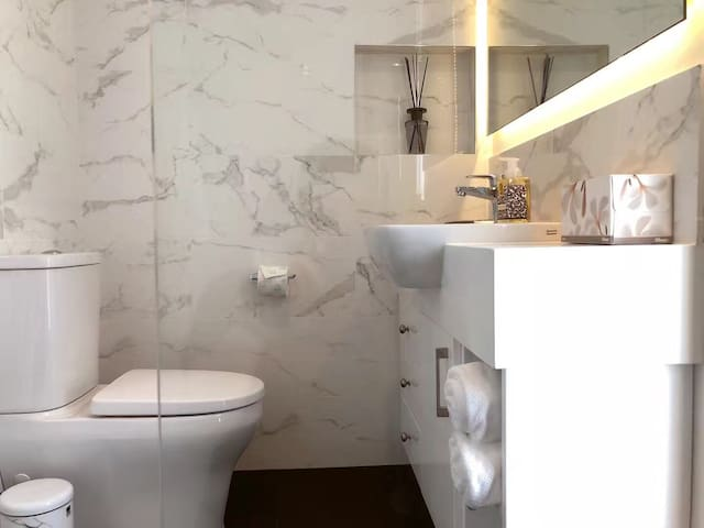 Modern bathroom from the double shower