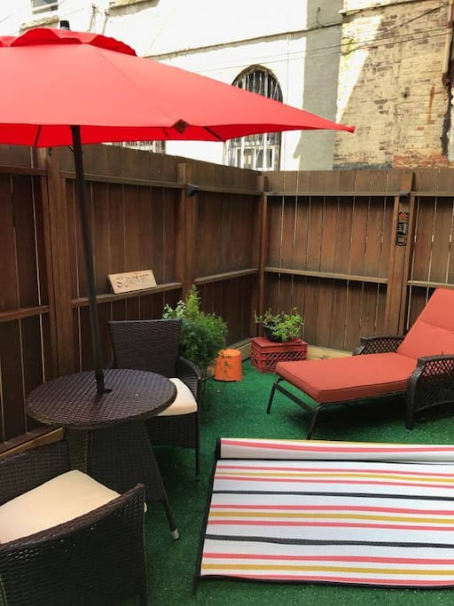 Relax in the private yard with patio furniture!