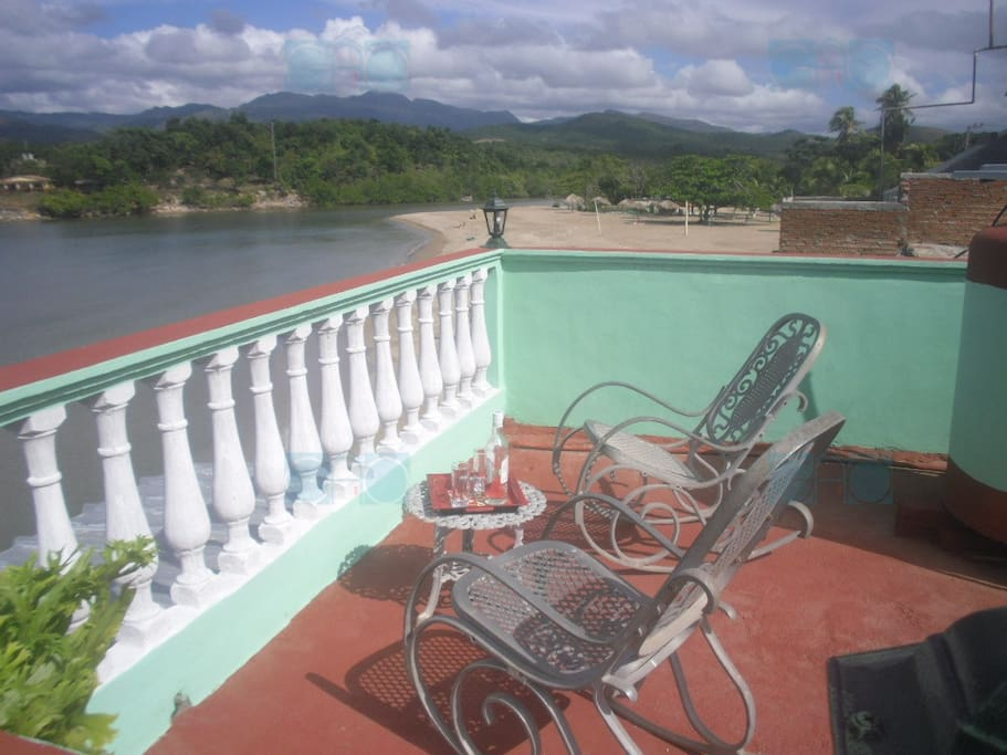 View of Escambray mountains, the mouth of the Guaurabo River and La Boca Beach