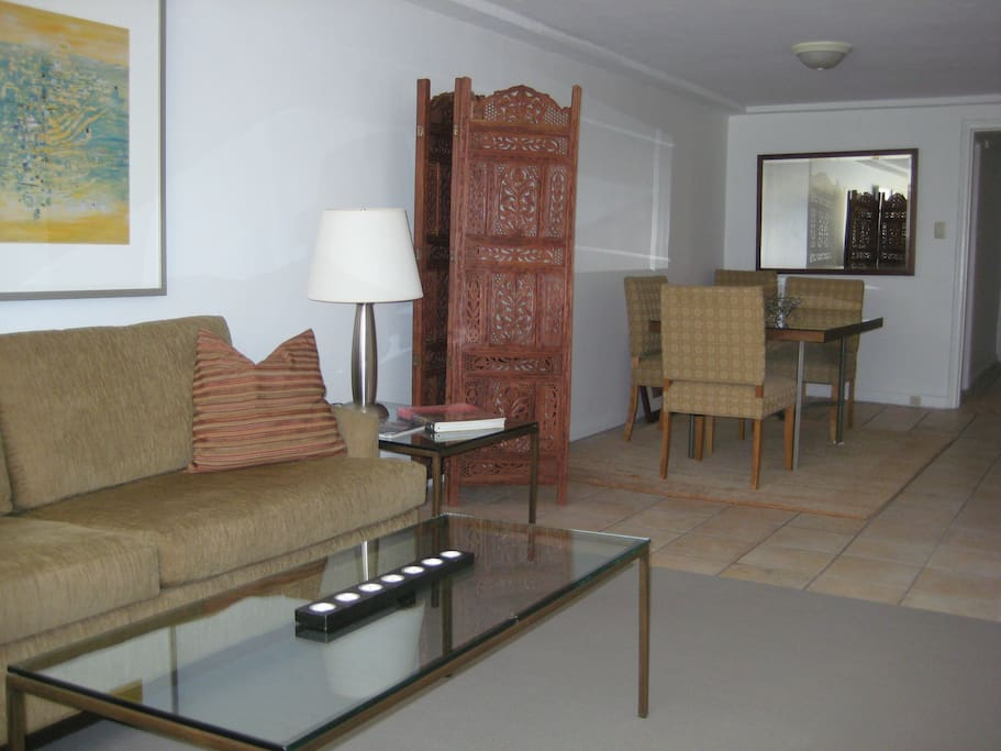 Spacious living and dining area 30 feet long (10 meters).