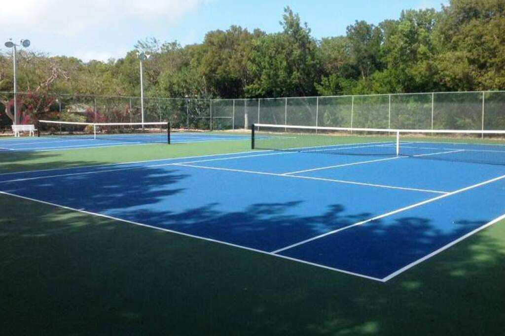 Our tennis courts (lighted)